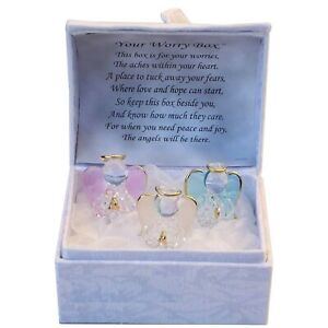 GlassThree Guardian Angel Worry Stress Prayer Friends Gift Box Trouble Times