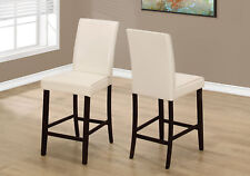 Monarch Specialities Dining Chair - 2Pcs / Ivory Leather-Look Counter Height