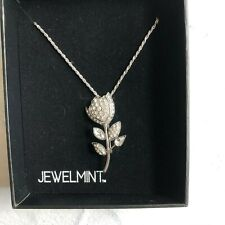 Plated New in Box Flower Jewelry Jewelmint Tulip Broach Necklace Crystals Silver