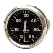 Faria Boat Tachometer Gauge TC9653A | Euro Stainless Black 3 1/4 Inch