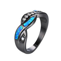 Fashion Wavy Blue Fire Opal CZ Cross Band Wedding Ring 10KT Black Gold Filled