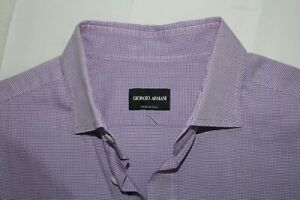 GIORGIO ARMANI Made in Italy 41 / 16 Purple Spread Collar BLACK LABEL Shirt