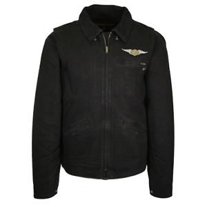 Harley-Davidson Men's Charcoal Black Heavy Denim Full Zip Jacket (S08)