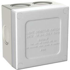 Cabac Weatherproof Sunset Switch w/ Light Sensor Timer/Eco/Standard Mode White