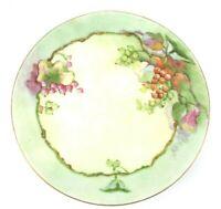 O&EG Austria Royal PLATE Signed RM Olson, Floral Hand Painted, Green Rim Vintage