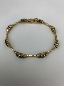 14K Yellow Gold and Diamonds Sapphire Tennis Bracelet - 7 Inches