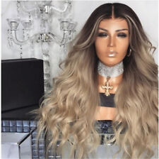 Women Stylish Gradient Blonde Cosplay Party Wig Long Curly Hair Synthetic Wig AI