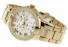 NEW NWT GUESS PRISM SWAROVSKI CRYSTALS GOLD BRACELET LADY WATCH DATE DAY G13537L