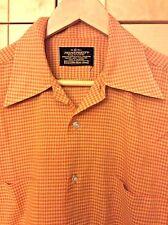 Vintage 60's Men's Mid Century Mod Orange Plaid Long Sleeve Shirt 15-15 1/2, S/M