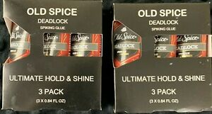2 Old Spice New Deadlock Spiking Glue 3 - 1.68oz Each Ultimate Hold & Shine New