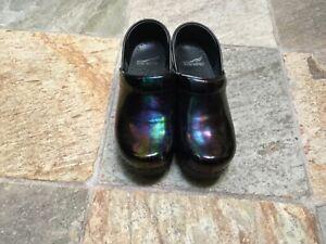 Dansko Professional Black Patent Iridescent Leather Comfort Clogs Shoes 36 6-6.5
