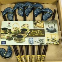 Set 6 Japanese Wooden Chopsticks And Blue Ceramic Rests Holder TENMOKU POTTERY