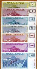 SPECIMEN SET, Slovenia, 1-5-10-50-100-500-1000 (Tolarjev), 1990-1992, UNC