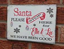 Santa Please Stop Here Wooden Sign Plaque Personalised Shabby & Chic Sign