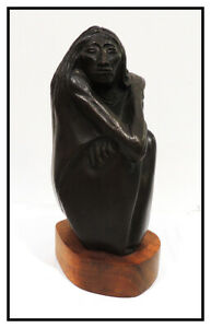 Allan Houser Bronze Full Round Sculpture Signed The Old One Woman Female Artwork