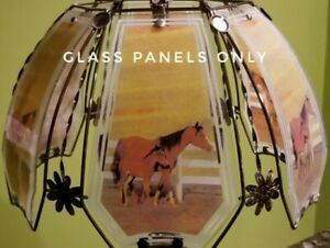 6 Panels OK Lighting Touch Lamp Replacement Glass Panels Mare Foal Horse Pasture