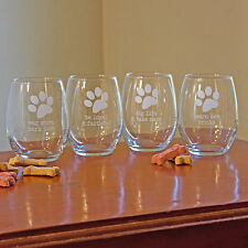 Dog Wisdom Stemless Wine Glasses (Set of 4)