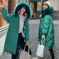 Winter Padded Reversible Parka long Womens Fur Puffer Jacket Down Hooded Coat