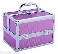 Aluminum Makeup Train Case Jewelry Box Cosmetic Organizer Storage Lockable Pink
