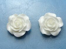 "20 White Cabochons Rose Flower Flatback Resin 20mm(3/4"") For Craft DIY"
