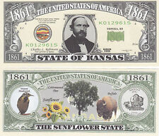 10 Kansas KS State Quarter Novelty Currency Bills Lot