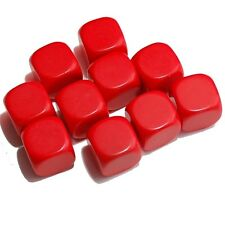 10 Blank Red Dice, (plastic cubes), 16mm , D6