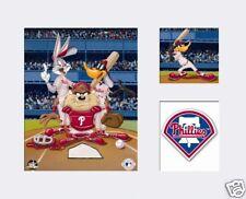 Looney Tunes Philadelphia PHILLIES Bugs Taz Daffy Baseball Litho Art White Mat