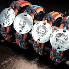 Wholesale Jewelry Lots 12pcs Stainless Steel Leather Constellation Bracelet Cool