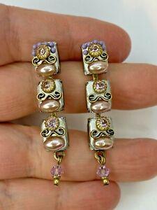 Sterling Silver Vintage Style Statement Drop Earrings w Pearl + Crystal handmade