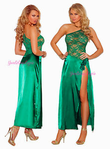 Sexy Satin and Lace Jade Green GOWN High Split LEG with Open Shoulder
