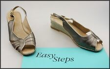 EASY STEPS WOMEN'S WESGED HEEL OPEN TOE GOLD SANDALS SHOES SIZE 7.5 C