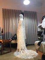 Vintage Full Lace Long White Bridal Wedding Veils Chapel Bride Hair Accessories