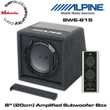 "Alpine SWE-815 - 8"" (20cm) Amplified Subwoofer  Enclosure 150W Bass Remote"