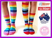Socks Striped Knee High roller Derby novelty sock 2 Pack Rainbow color size 6- 9