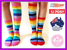 Socks Striped Knee High roller Derby novelty sock 2 Pack Rainbow plus size 9- 11