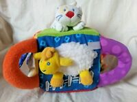 Carter's Animal Sounds Interactive Cube Block Soft Plush Baby Toy Cat Dog Fish