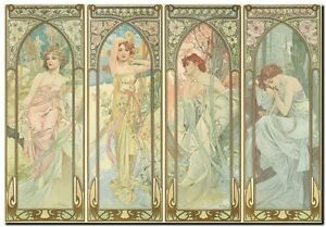 """Alphonse Mucha CANVAS PRINT Times of Day Vintage Art painting poster 16""""X12"""""""