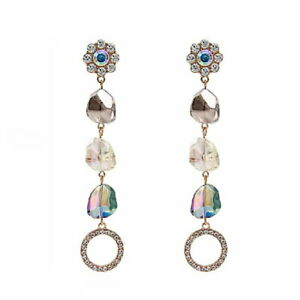 EARRINGS Large Dangly Glamorous Sparkly 4'' long Drop ~ AB Crystals ~ Rhinestone