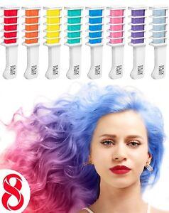 Hair Chalk Comb Temporary Hair Dye Hair Colour Brush 8 pcs Perfect Gift Idea