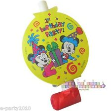 DISNEY BABIES Mickey & Minnie BLOWOUTS (6) ~ 1st Birthday Party Supplies Favors