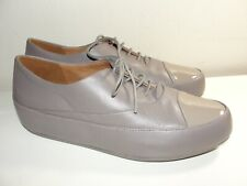 NEW FITFLOP* DUE FLAT TAUPE LEATHER PATENT CAP TOE OXFORD LACE-UP SHOES*38 7-7.5