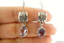 Purple Amethyst Ornate 925 Sterling Silver Dangle Drop Earrings