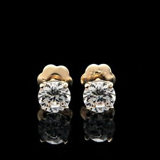 0.50CT ROUND CUT CREATED DIAMOND EARRINGS 14K SOLID YELLOW GOLD STUDS SCREW-BACK