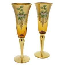 GlassOfVenice Set of Two Murano Glass Champagne Flutes 24K Gold Leaf- Amber