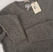 GANT Rugger Sweater XL Light Grey Melange Basket Weave Crew Neck Cotton Wool