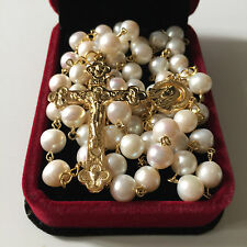 (AAA 10MM) Real Pearl BEADS ROSARY CROSS stations of the cross rosary necklace