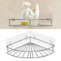 Adhesive Corner Bathroom Shelf Shower Caddy Wall Mounted Storage Stainless Steel