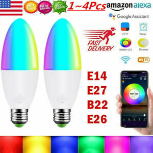 Wifi Smart LED Lights Bulb RGB Dimmable App Control for Google Home/Alexa/IFTTT@