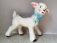 "Lamb PLANTER Pink Blue BOW 6"" Tall 7"" Wide EXCELLENT Ceramic VINTAGE"