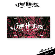 Bow Huntress womens bow hunting license plate pink camo muddy compound bow